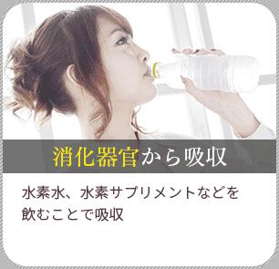 消化器官から吸収/水素水、水素サプリメントなどで飲むことで吸収